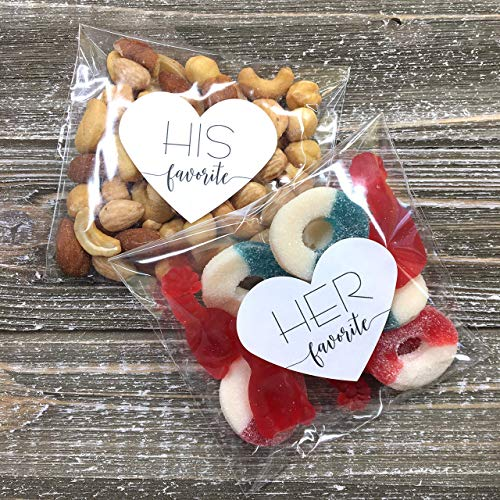 Wedding Favors - 30 Stickers, His/Her Favorite - Clear Treat Bags - Shower or Party Guest Gift]()