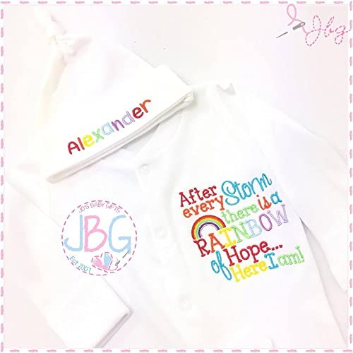 Personalised embroidered rainbow baby sleepsuit and hat set after personalised embroidered rainbow baby sleepsuit and hat set after every storm baby clothing baby negle Images