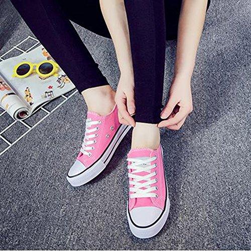 Summerwhisper Damesschoenen Klassieke Lage Top Skateboard Sneakers Veterschoenen Plimsoll Canvas Schoenen Roze