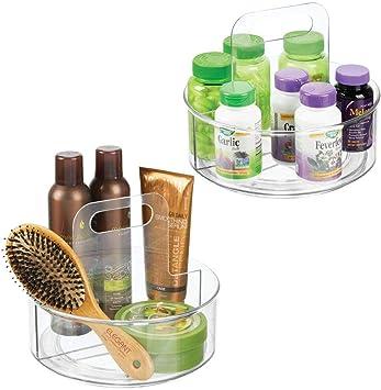 zur Makeup- und Kosmetikaufbewahrung transparent mDesign 2er-Set Drehteller drehbarer Kosmetik Organizer f/ür Waschtisch und Schrank