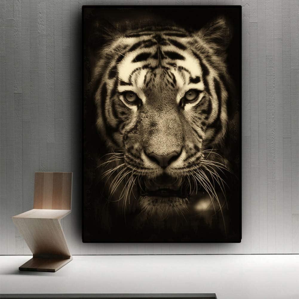 LPHMMD Pintura Art Deco Cuadro en Lienzo de Animales Salvajes de Tigre Blanco Negro pósters Impresiones de Cuadros Sala de estar-50x70cm