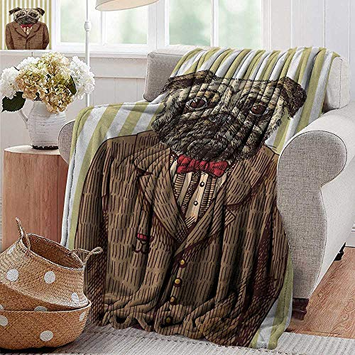 (XavieraDoherty Camping Blanket,Pug,Hand Drawn Sketch of Smart Dressed Dog Jacket Shirt Bow Suit Striped Background, Brown Pale Brown,Flannel Blankets Made with Plush Microfiber 50