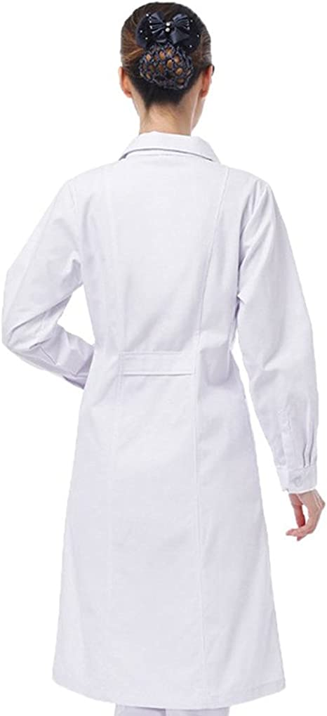 Queque Shine Camice Bianco Donna da Laboratorio Medico Lavoro in Policotone con Manica Lunga