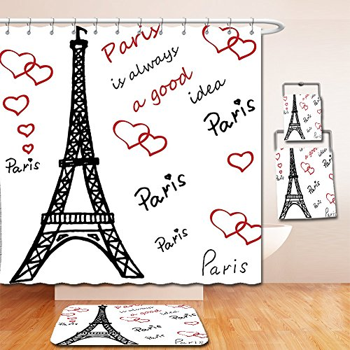 Nalahome Bath Suit: Showercurtain Bathrug Bathtowel Handtowel Eiffel Tower Decor Eiffel Tower Paris Is Always A Good Idea Tourism Locations Sweet Love - Metro Fashion Locations