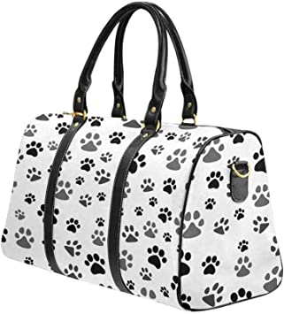 Flight Bag Gym Bag White Cats on Black InterestPrint Large Duffel Bag