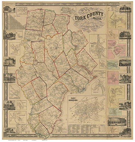 (York County Maine 1856 - Wall Map with Homeowner Names - Old Map)
