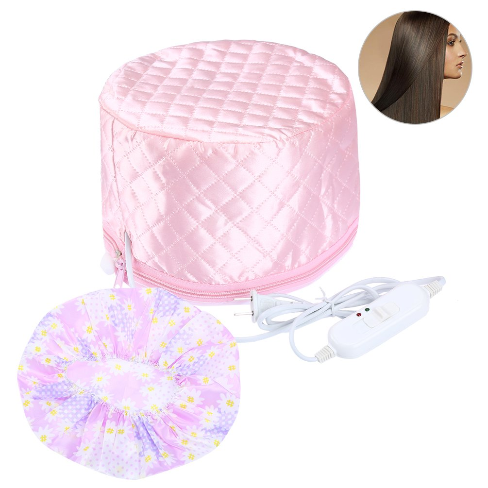PRETTY SEE Hair Steamer Cap Beauty Steamer Nourishing Hat Hair Thermal Treatment Cap with 3 Mode Temperature Control, Pink