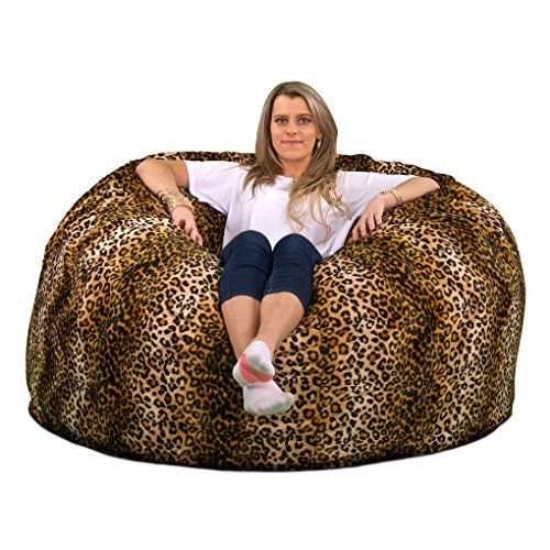 (ULTIMATE SACK 4000 Bean Bag Chair: Giant Foam-Filled Furniture - Machine Washable Covers, Double Stitched Seams, Durable Inner Liner, and 100% Virgin Foam. Comfy Bean Bag Chair. (Leopard Print,)