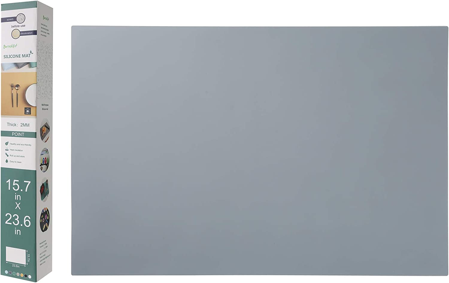 Silicone Mats, Countertop Protector, Thick 2mm, Heat Resistant Nonskid Table Mat, Silicon Baking Mat, Dough Rolling mat, Pie and Fondant Mat, 15.7 by 23.6 inches (Dark Grey)