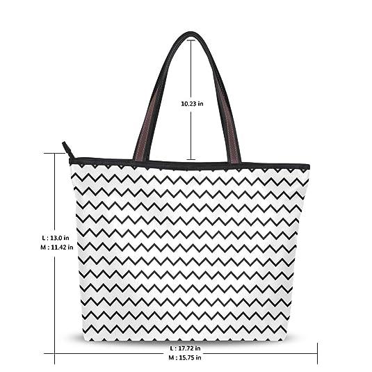 Amazon Com Mapolo Black White Chevron Zigzag Fashion Handbags Tote