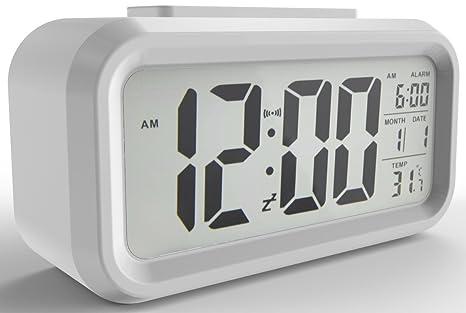 gloue Digital alarma reloj pilas alarma relojes bedside- Temperatura Display- Snooze y grande Display