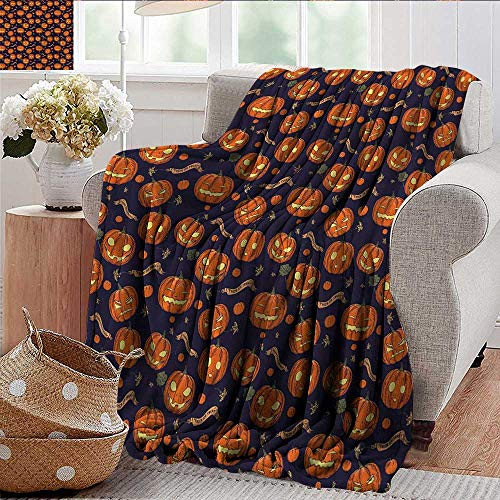 Xaviera Doherty Blankets Fleece Blanket Throw Halloween,Different Pumpkin Faces Super Soft and Warm,Durable Throw Blanket 60