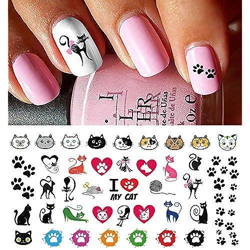 I Love My Cat Kitten Paw Prints Water Slide Nail Art Decals- Salon Quality! - Cat Nail Art: Amazon.com