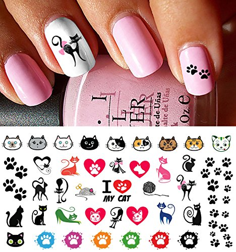 I Love My Cat Kitten Paw Prints Water Slide Nail Art Decals- Salon Quality!