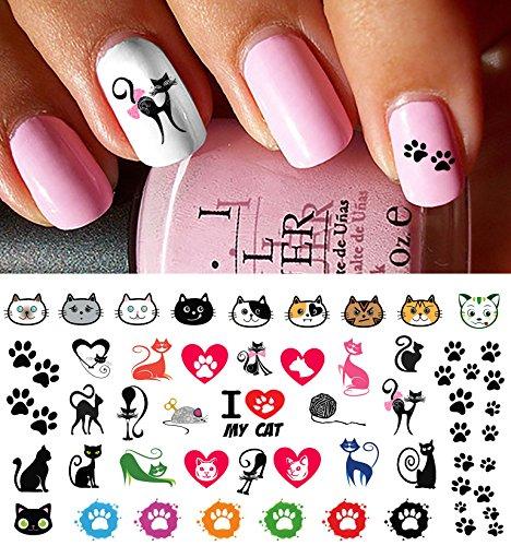 I Love My Cat Kitten Paw Prints Water Slide Nail Art Decals- Salon -