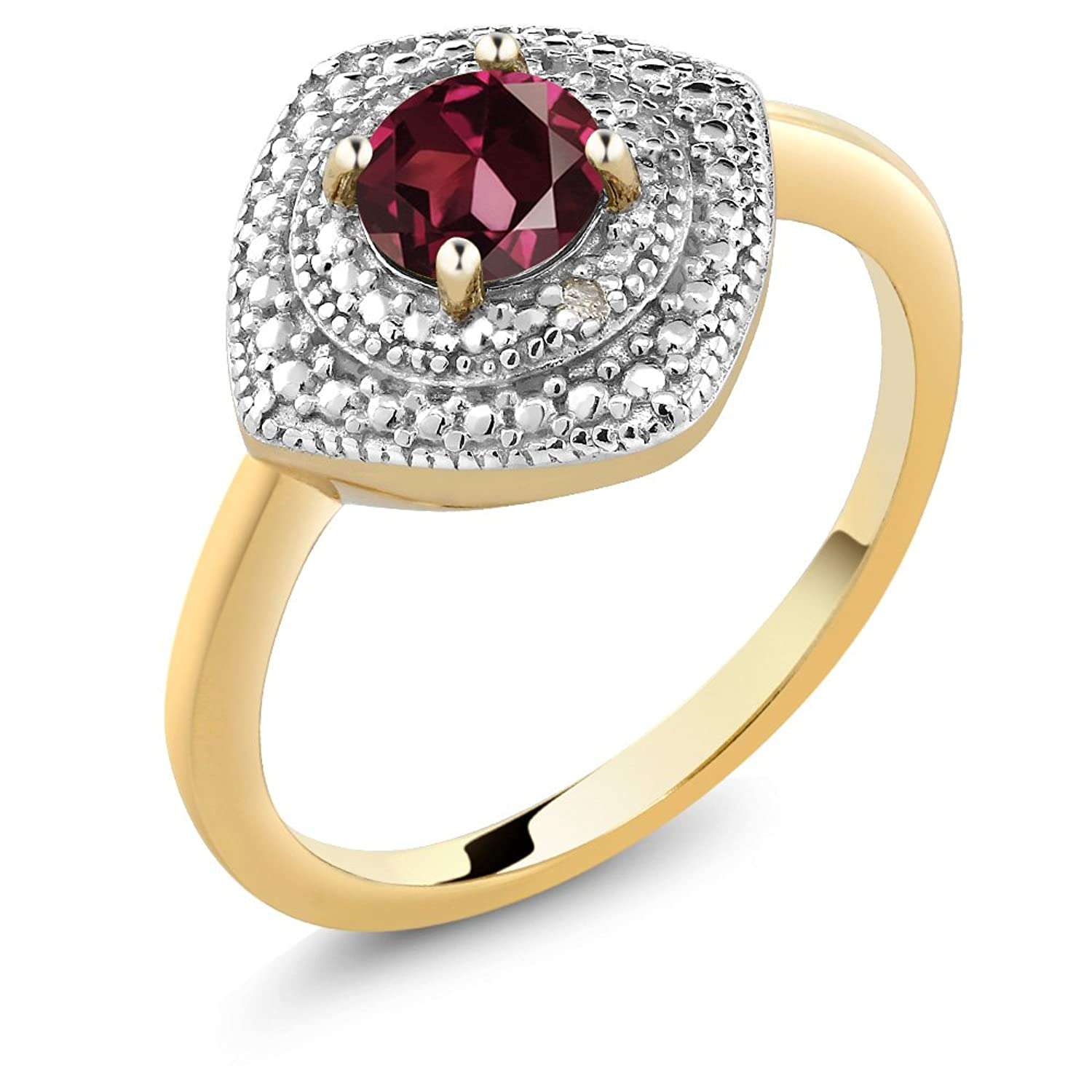 Red Rhodolite Garnet and Accent Diamond 18K Yellow Gold Plated
