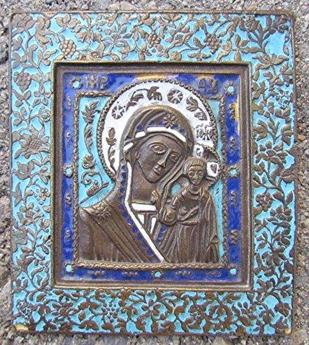 OLD RUSSIAN BRONZE ENAMEL ICON OF KAZAN MOTHER OF GOD