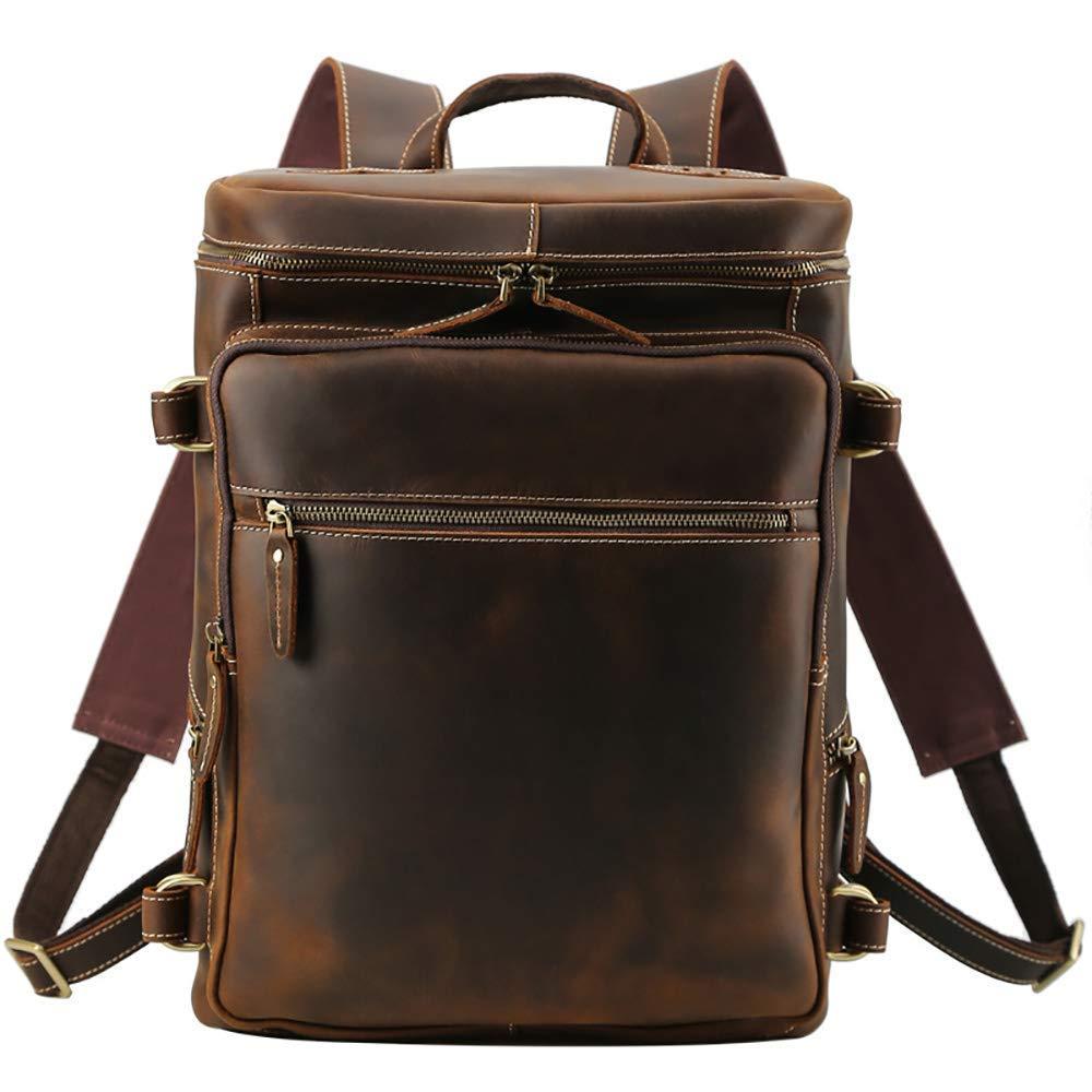 Briefcase Home Herrenrucksack Große Kapazität 16 Computer Tasche Kopf Lederreiserucksack