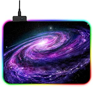 RGB Galaxy Night Sky Gaming Mouse Pad Large Color LED Lighting Wired USB 13.8 x 9.8 Inches Table Mat for Gamer
