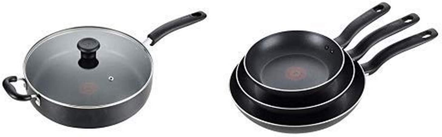 T-fal B36290 Specialty Nonstick 5 Qt. Jumbo Cooker Sauté Pan with Glass Lid, Black AND T-fal B363S3 Specialty Nonstick 3 PC Fry Pan Cookware Set, 3-Pack, Black