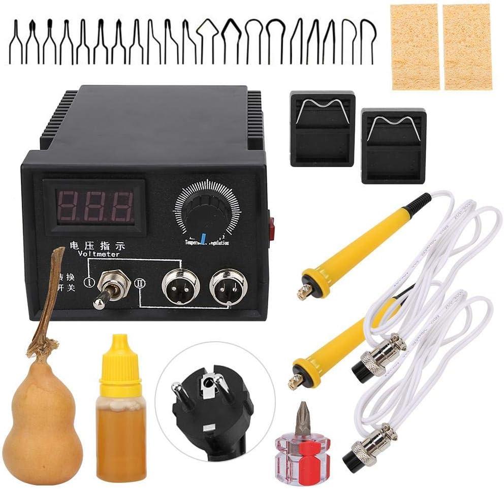Liyeehao Máquina de pirograbadora de extracción de leña Profesional Pantalla Digital Máquina de pirografía de Doble Interfaz Soldadura de calefacción Kit de Quema de Madera Herramienta Artesanal(YO)