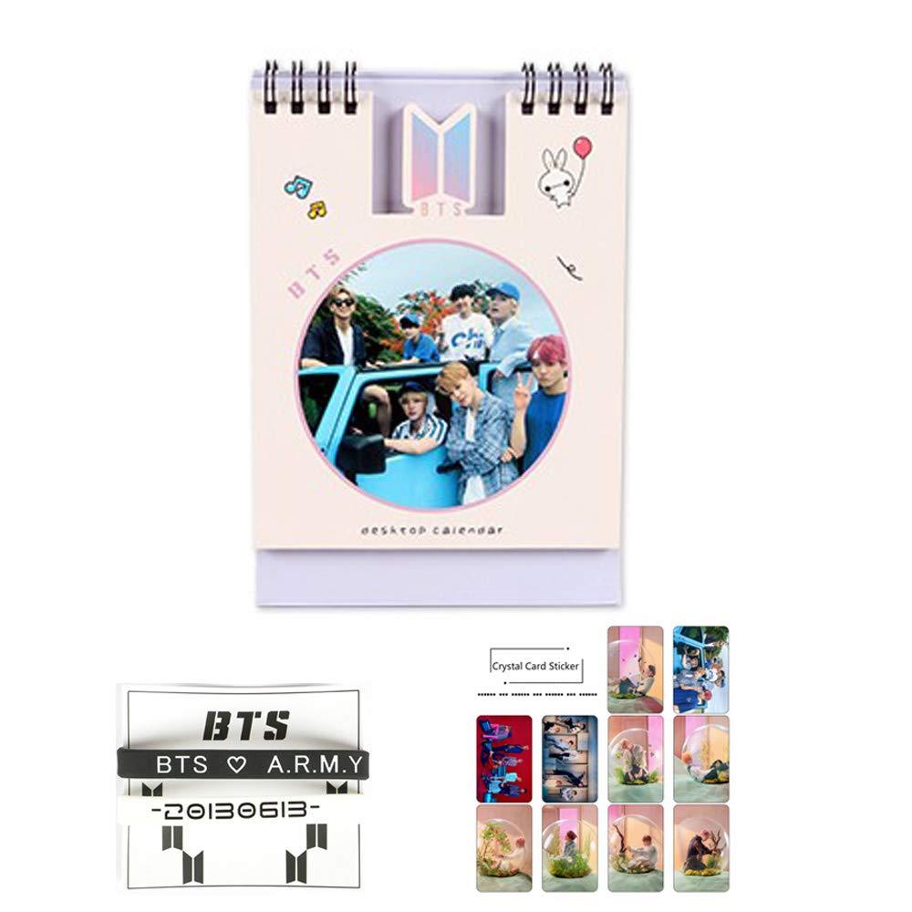 BTS Bangtan Boys 2019 Desk Calendar + 2 PCS Silicone Hand Ring + 10 Pcs Photo Stickers (JUNG KOOK) Yuto