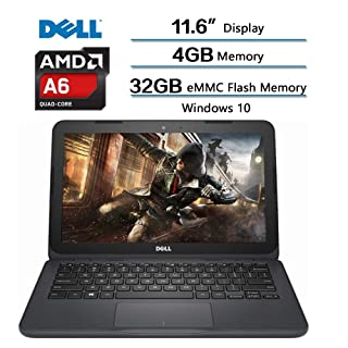 Dell Inspiron 11.6 inch Laptop, AMD A6-9220e 11.6in HD Display, 4GB DDR4 SDRAM, 32GB eMMC Flash Memory, Win 10 (Renewed)