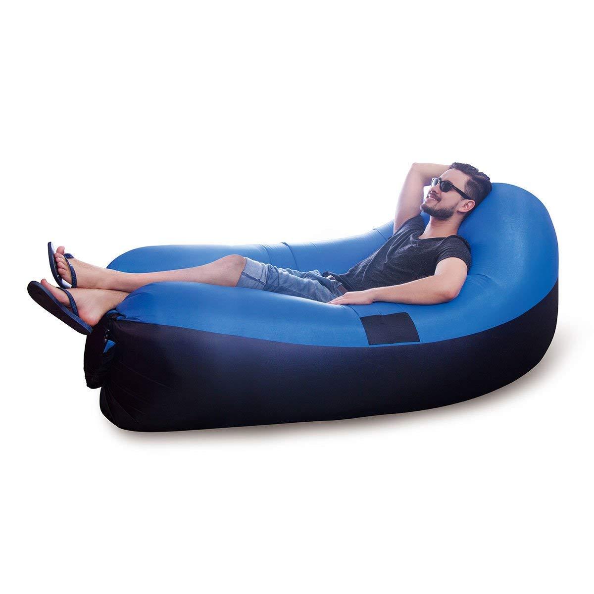 JML Air Chair Outdoor Garden Beach Inflatable Blow-Up Sofa & Air Bed Blue