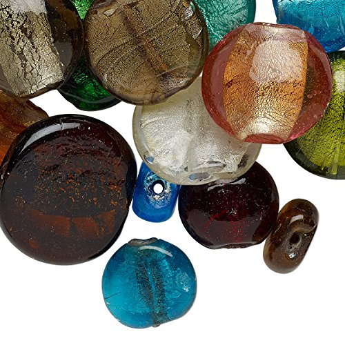 Bead mix, lampworked glass, opaque to transparent mixed colors with silver-colored foil, 14-37mm flat round and puffed flat round with 1.5-9mm hole