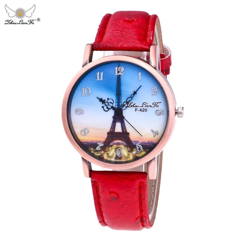 メスシンプルレザーウォッチ、、Sinmaエッフェル塔画像ブレスレット腕時計アナログクオーツ腕時計 B071Z7R5FN