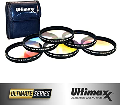 55mm with Protective Filter Wallet Orange, Yellow, Blue, Purple, Red, Grey 55mm 6 Piece Professional Gradual Color Filter Kit Set