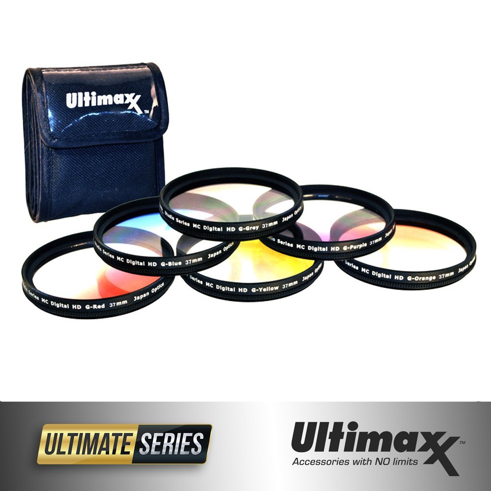 55mm 6 Piece Professional Gradual Color Filter Kit Set (Orange, Yellow, Blue, Purple, Red, Grey) 55mm with Protective Filter Wallet by Ultimaxx