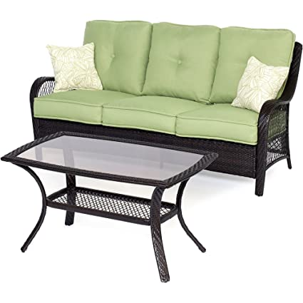 Hanover ORLEANS2PC Orleans 2 Piece Outdoor Lounging Set, Includes Sofa And  43 By 26