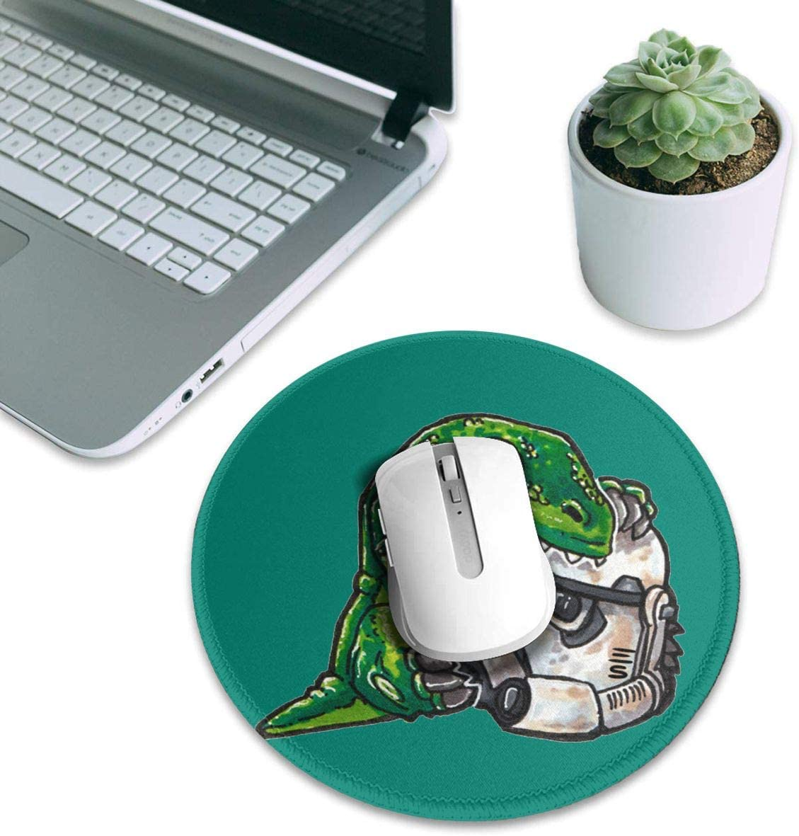 Dinosaur Eating Robot Round Gaming Mouse Pad for Office and Home 7.9inx7.9 in