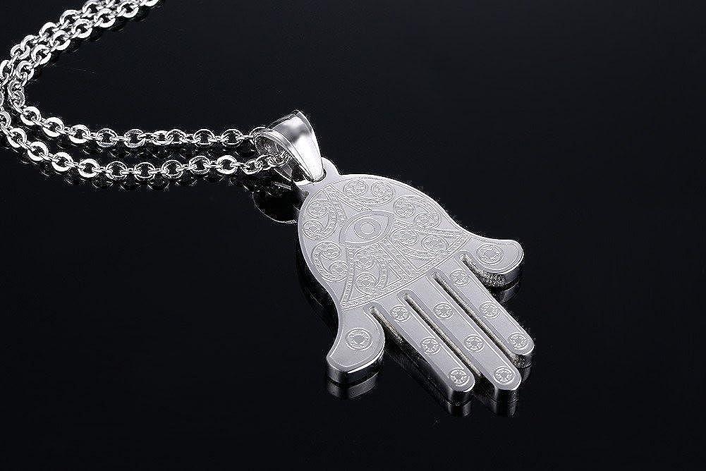 Blowin pour en Acier Inoxydable Argent/é Main de Hamsa avec Mauvais /œil Collier Pendentif Porte Bonheur