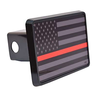 Rogue River Tactical Subdued Thin Red Line Flag Trailer Hitch Cover Plug US Firefighter Fire Fighter Truck Department FD: Automotive