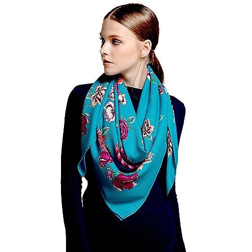 Donna sciarpe 100% lana di lusso avvolge Stampa Bandana(120cmx120cm)