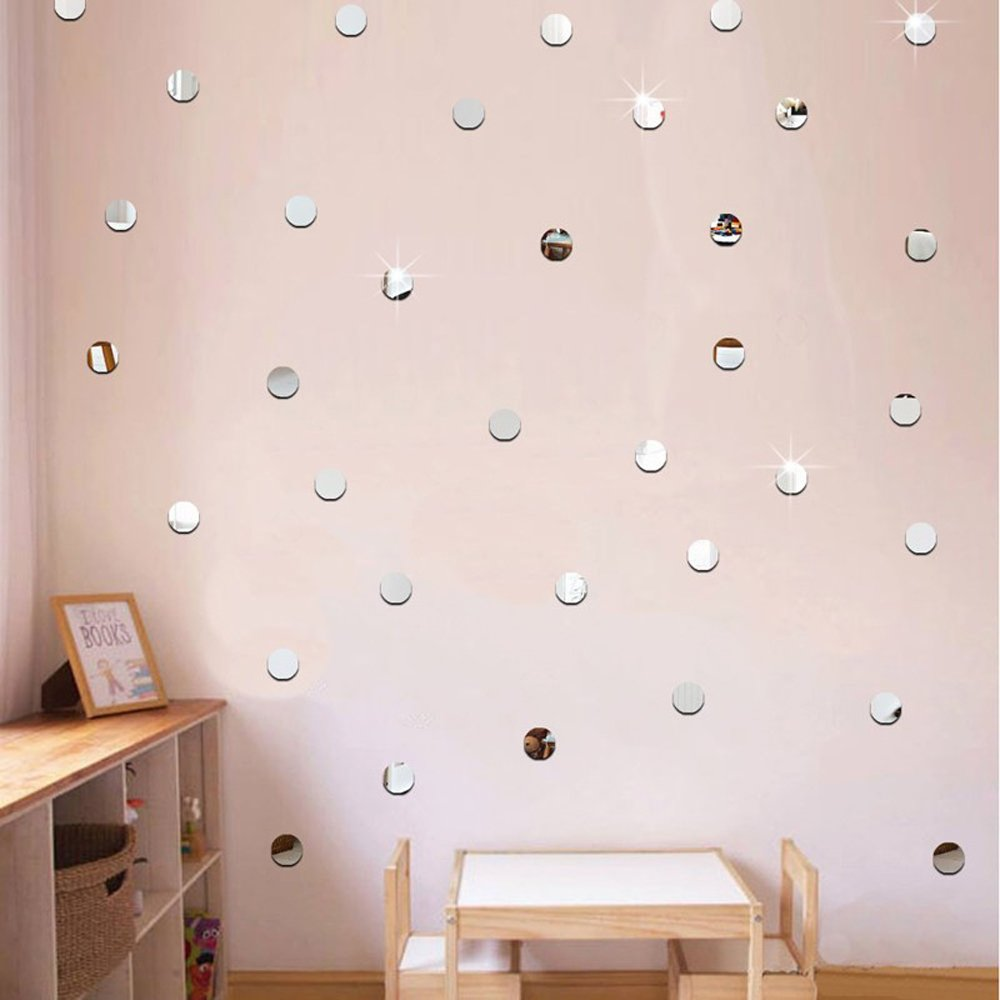 Silver Bling-Bling Circle Dots 3cm * 200pcs DIY 3D Acrylic Wall Sticker Mirror Effect Stickers Mural Children's Room Ceiling Bedroom Decor Decals adesivo de parede Home Decorations