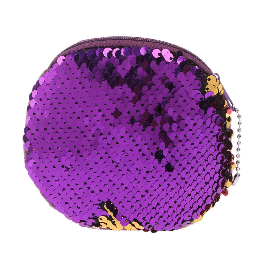 4# ZOOMY Sacchetto dei Soldi della Signora Due Colori Frutta Modello Paillette Cambio Borsa Moneta Portafoglio Pocket Pocket