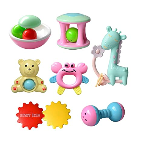 mi ji 7 PCS/SET Cute Baby Sonajeros Juguetes Early Educational ...