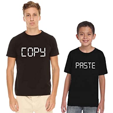 e5140cd6d YaYa cafe Family T-Shirts Copy and Paste for Dad and Kid/Daughter/Son Set  of 2: Amazon.in: Clothing & Accessories