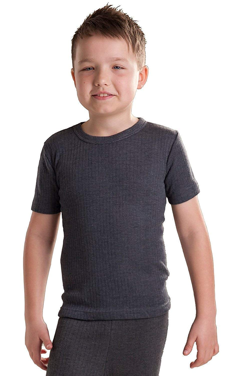 Octave 12 Pack Boys Thermal Underwear Short Sleeve T-Shirt/Vest/Top (2-3 yrs [Chest: 18-20 inches], Charcoal) by Octave