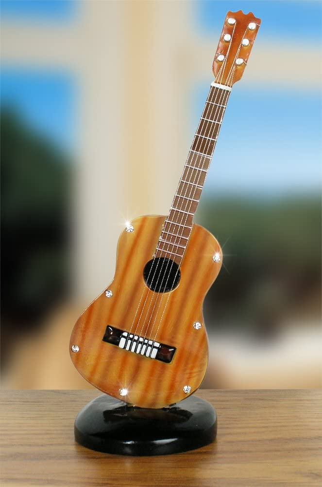 """BANBERRY DESIGNS Mini Guitar Home Decorations - 7 1/2"""" H - Natural Finish Guitar with Shiny Crystals Accents – Realistic Strings- Gifts for Music Teachers- Musicians- Students- Instrument Collectors"""