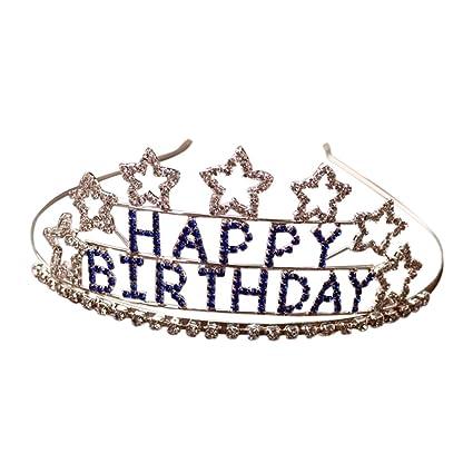 Frcolor Tiara Strass Del Rhinestone Di Buon Compleanno Tiara Della
