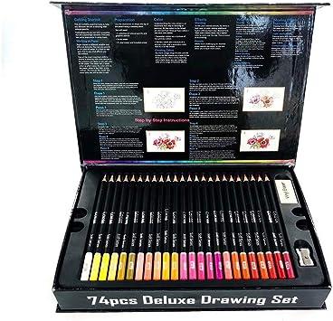 UZZHANG 75 Pintura Color Plomo Set Profesional Adulto Caja De Libro Dibujo Color Lápiz Papelería: Amazon.es: Electrónica