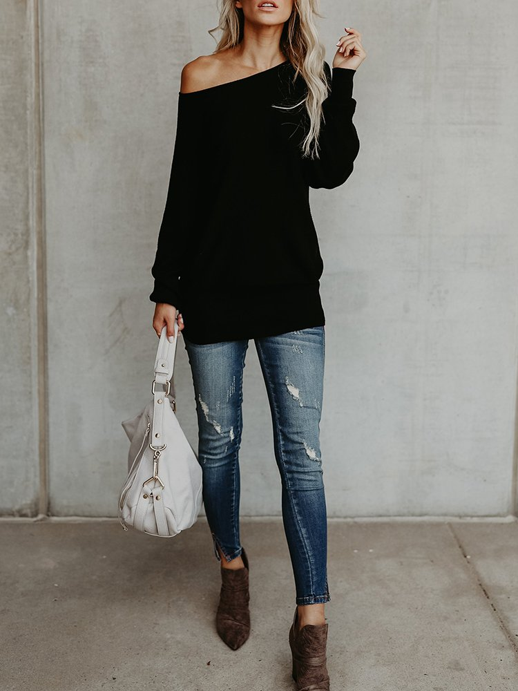 Chuanqi Womens Sweaters Off The Shoulder Pullover Sweater Long Sleeve Oversized Knit Jumper by Chuanqi (Image #4)