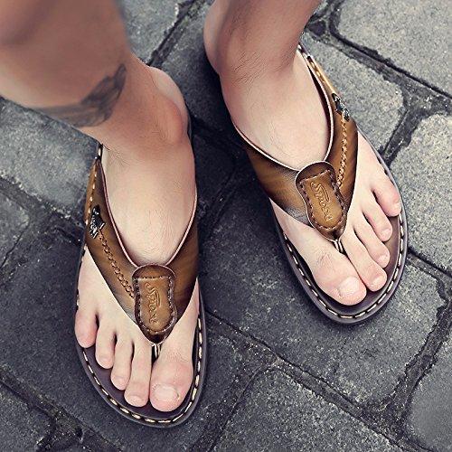 Sandalen Männer Das neue Sommer Männer Schuh Rutschfest Tragbar Dualer Gebrauch Strand Schuh Männer Flip Flops Sandalen Trend ,GelbA,US=7,UK=6.5,EU=40,CN=40