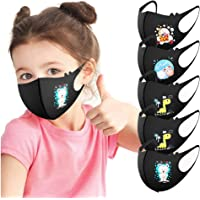HUIMI Kid Face Shield Anti-dust Reusable Mouth Cloth Faces Covering Face Shields Cartoon Printing (5 PC, Black)