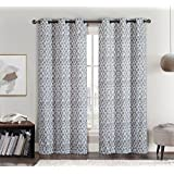 Meridian Gray Grommet Blackout Window Curtain Drapes, Pair / Set of 2 Panels, 52x96 inches Each, by Royal Hotel