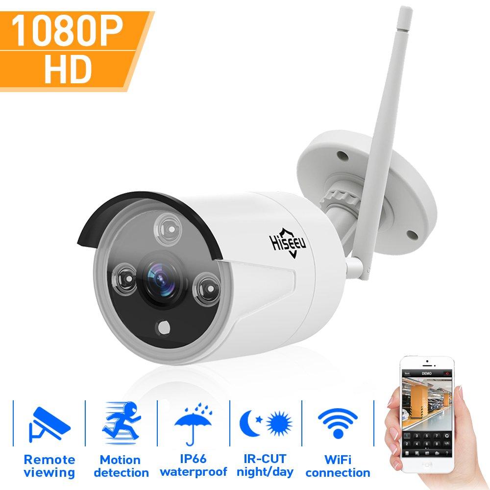 Hiseeu 1080P Wireless Outdoor IP Camera WiFi Metal Case Waterproof 1080P Night Vision Security Cam HD CCTV P2P H.264 Android iOS Windows 2.0M Pixel